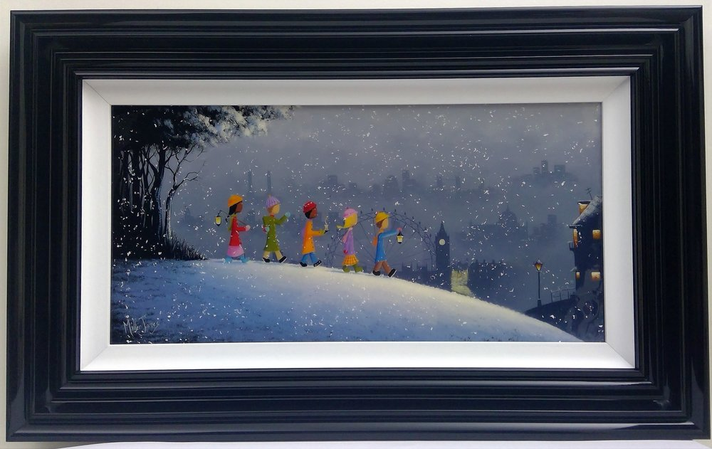 "'London Winter Stroll' - Framed size 20""x32""Was £360NOW £250SOLD"