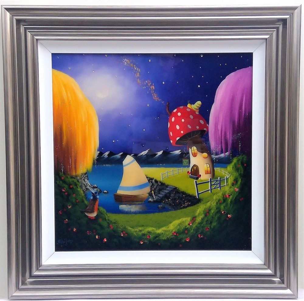 "Moonlit Bay Cottage' - Framed size 28""x28""Was £495NOW £250SOLD"