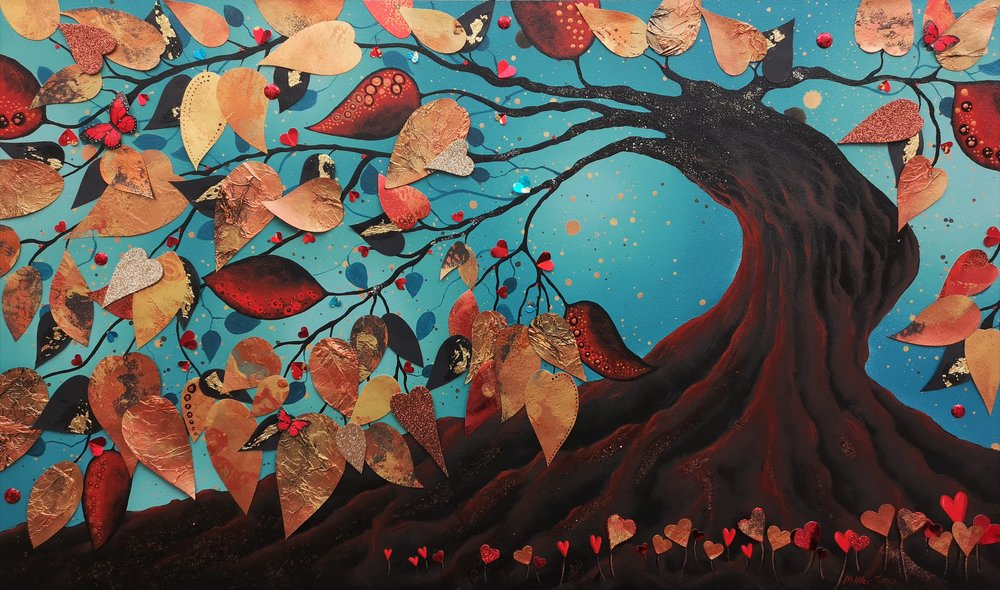 """'The Tree Dance' - Oil & mixed media on panel30""""x18""""£695Available now"""