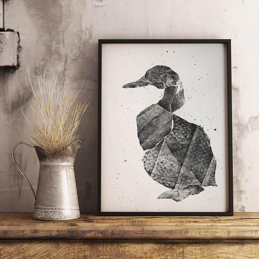 Silver Duck   monoprint