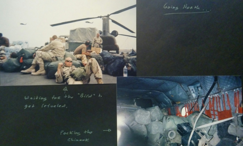 Cpl Siefkes looking 'stressed'; organized chaos best describes how we packed the Chinook.