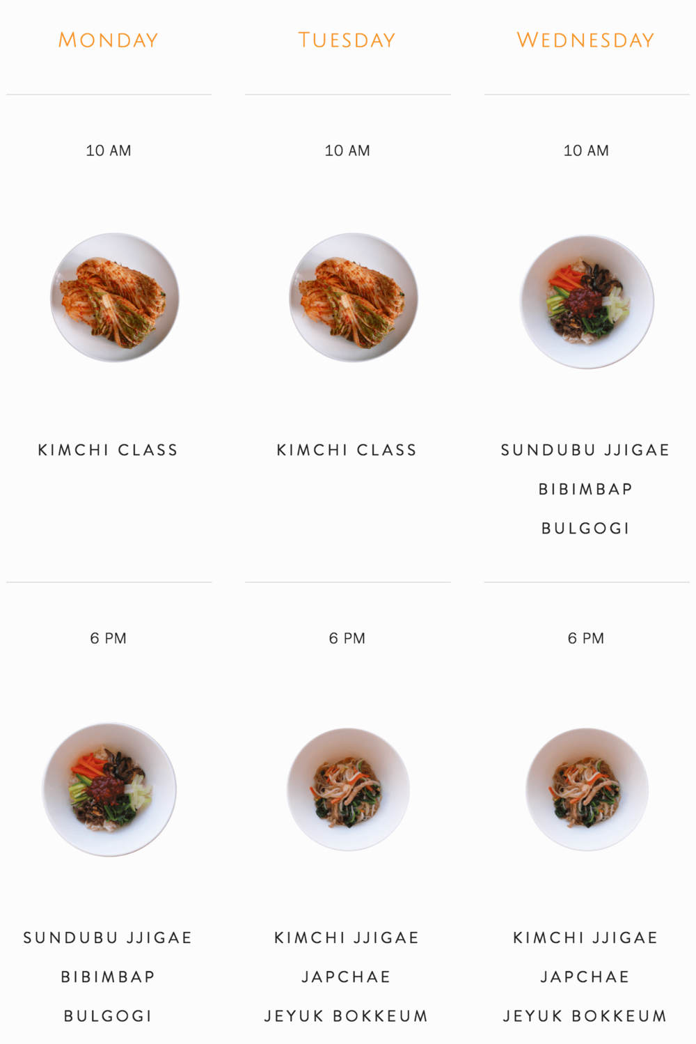 Cooking Class Weekly Plan