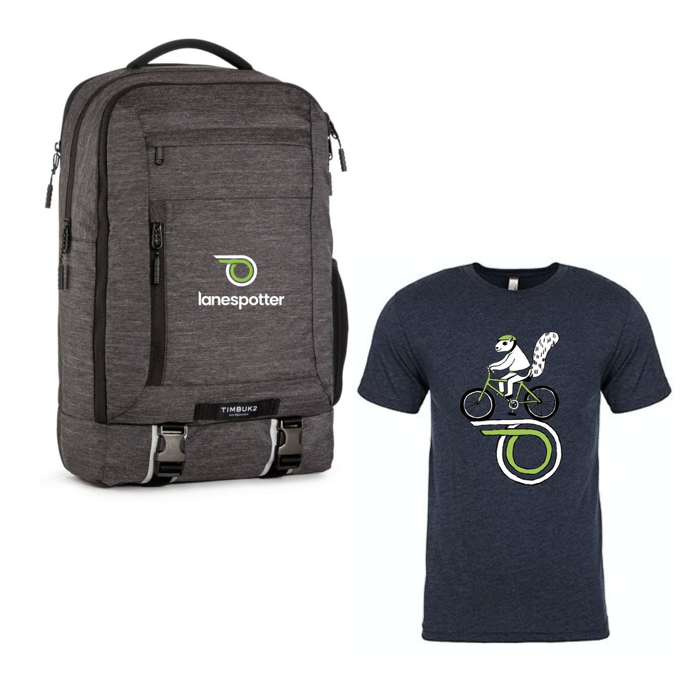 Timbuk2 Authority Pack: A supremely organized monster of a work pack. Plus, a LaneSpotter squirrel on a bike-shirt!