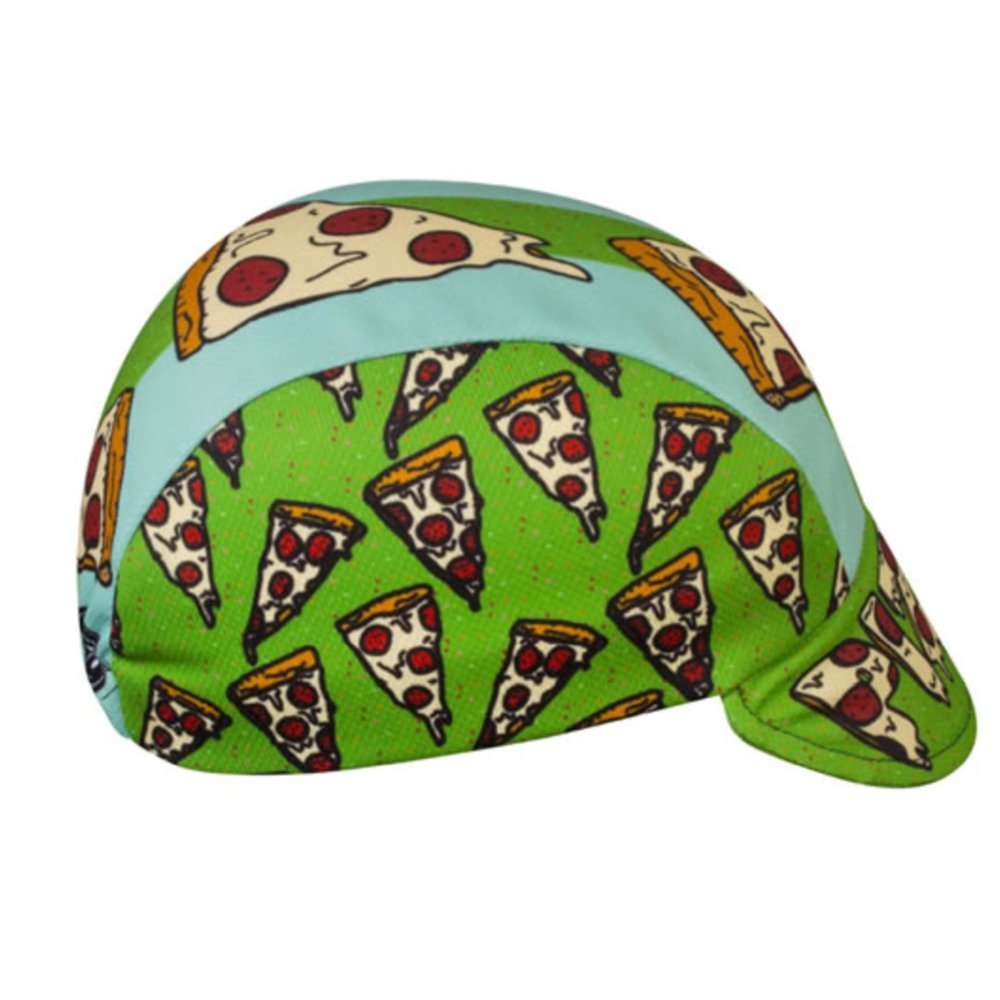 Aero Tech Designs Pizza Cap: Pizza Rulez. The toppings of this cap are images of delicious cheesy, pepperoni pizza slices. Ride for pie!
