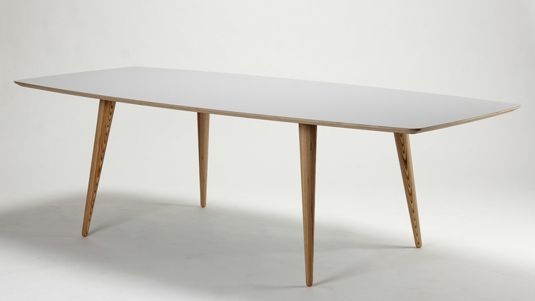 AARHUS 8 PERSON BIRCH PLY AND LAMINATE BOAT TOP DINING TABLE