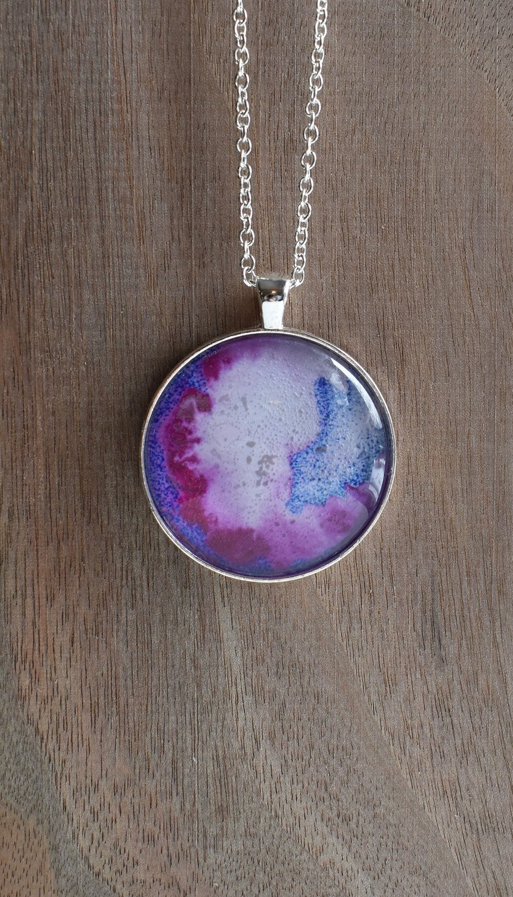 "Pink and Blue Abstract 1.5"" Pendant"