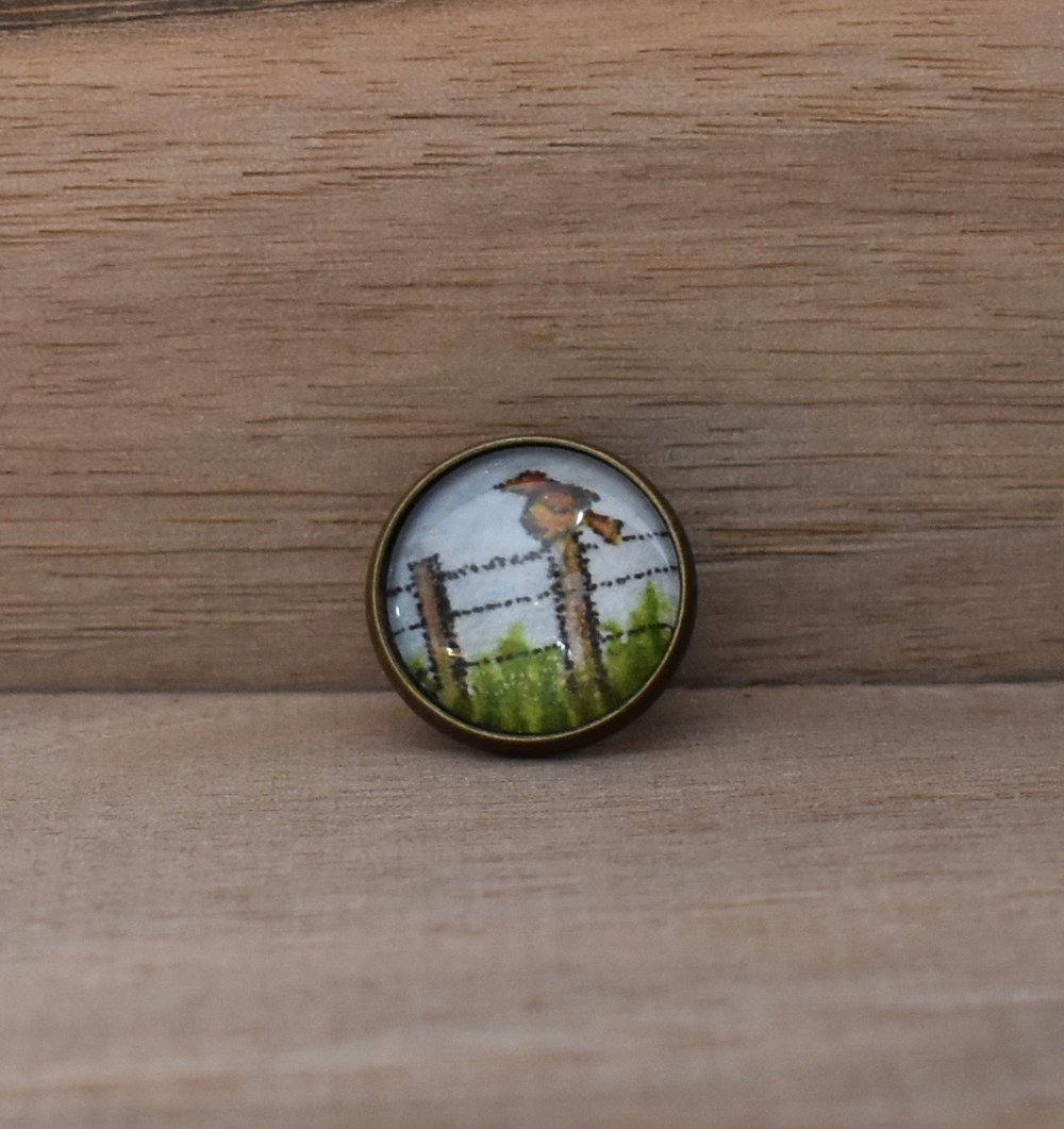 Bird on a Fence Lapel Pin