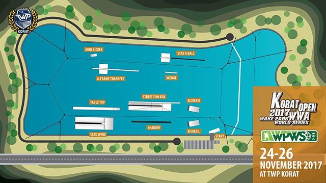 📢📢 Park Layout for Korat Open 2017 is out ✊ Wining prizes breakdown will be out soon 😁Stay tuned!! Tag friends who would ride this 🤘 Sharing appreciated 🙏 #thaiwakepark #twpkorat #bestwakepark #thaiwakeparkkorat #twp #koratopen2017 ##wpws17