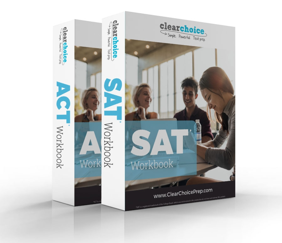 SAT and ACT Workbooks on a white background