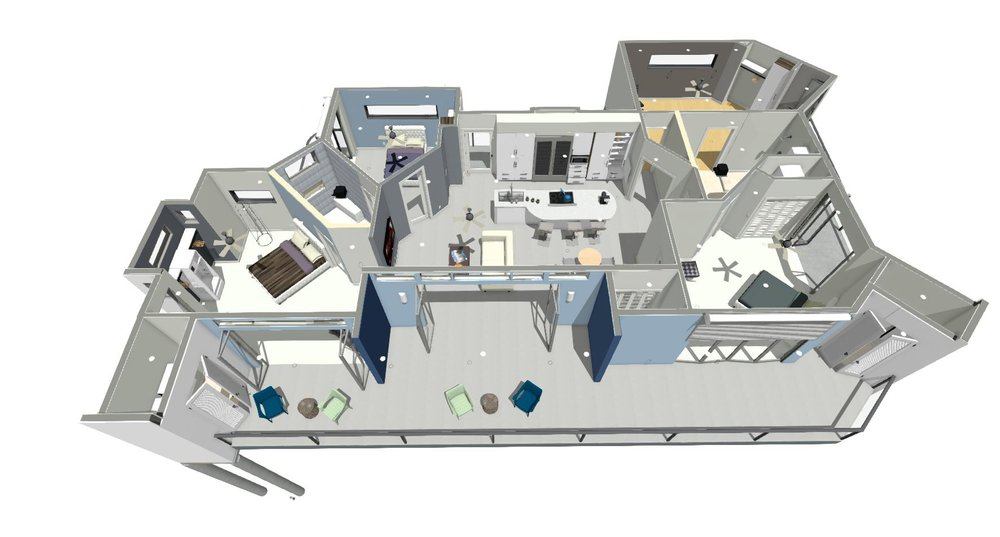 3D overview 4beds 2 full complete baths, private decks and central
