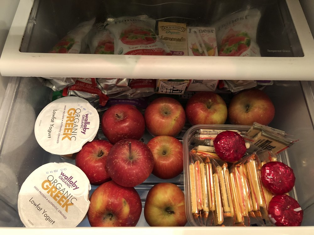 Refrigerator snack drawer a la Enriched Family