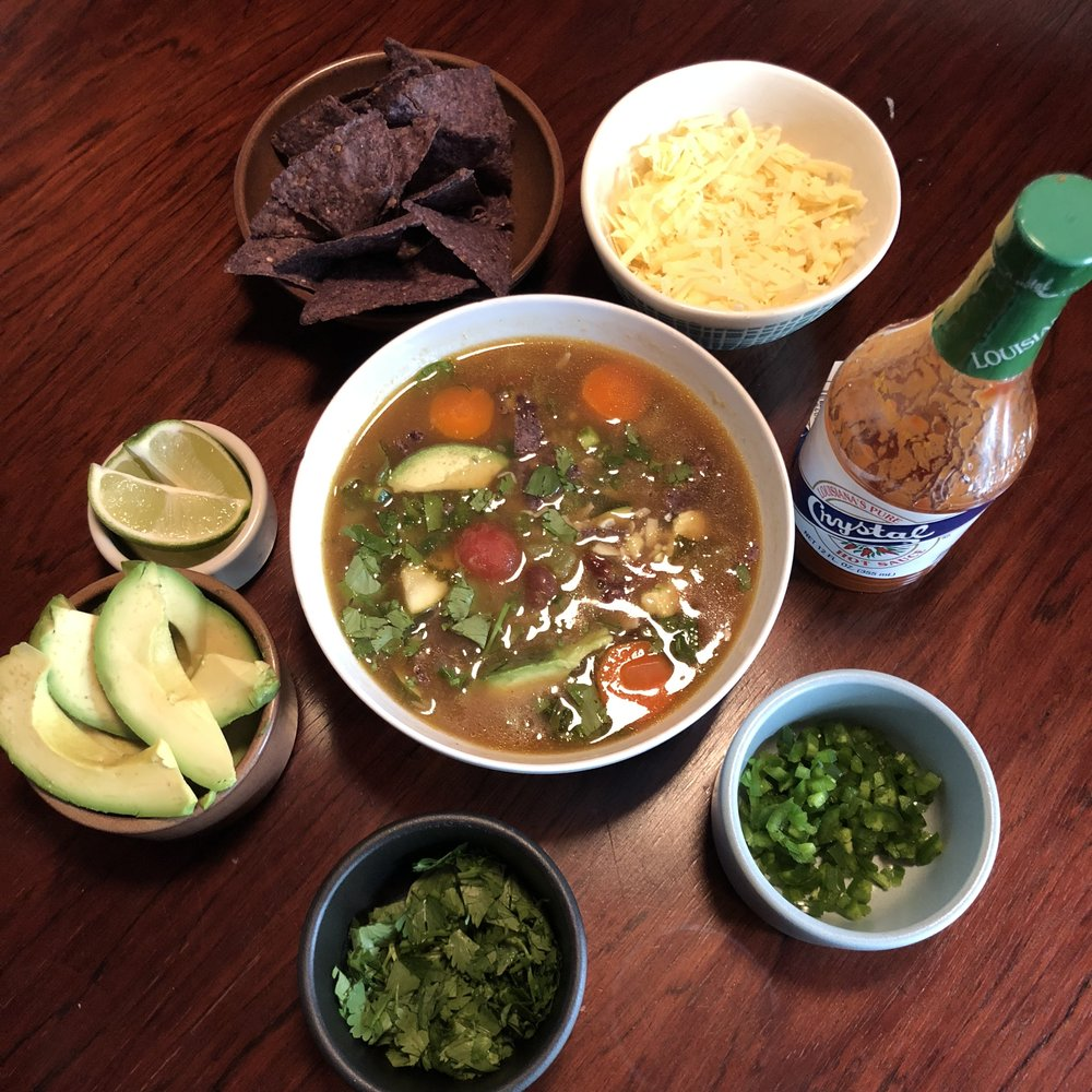 Melanie's Vegetarian Tortilla Soup w Fixings. Photo by Thomas Creed.