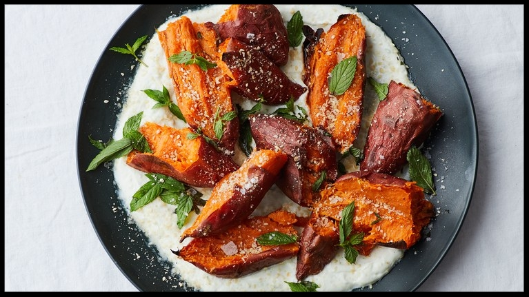 Roasted Sweet Potatoes with Chile Yogurt and Mint   by Michael Graydon + Nikole Herriott for Bon Appétit.
