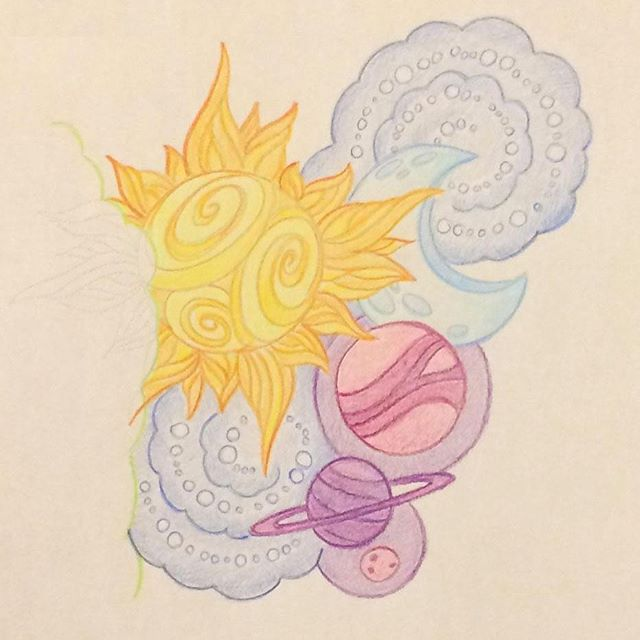 🌙✨☀️..new tattoo😏 #drawing #colours #tattoo #sun #moon #stars #planets