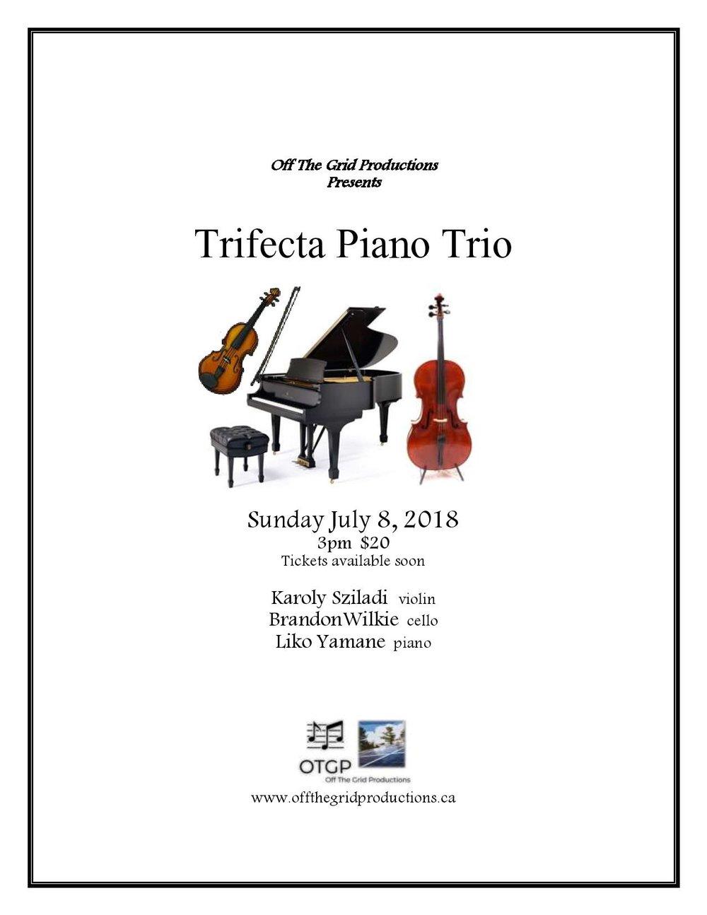 Trifecta Piano Trio - Liko Yamane pianoKaroly Sziladi violinBrandon Wilkie cello