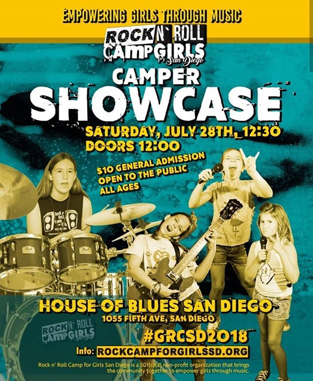 If you aren't familiar with Rock and Roll Camp for Girls (@rockcampforgirlssd), it's a nation-wide series of camps that aim to empower girls through music. Many of the girls come in on Monday never having played an instrument, and by the end of the week they're performing their original songs with their new bands. This year's showcase is at House of Blues! How rad is that!? 🤘🏼 I've had the incredible, life-changing honor of being a band coach to these girls this week and I'm leaving the week refreshed, inspired, and recalling all the joy of learning to play music (especially drums, see the last picture). 🎶 If you're in San Diego, come by @hobsandiego to watch the showcase at 12:30!