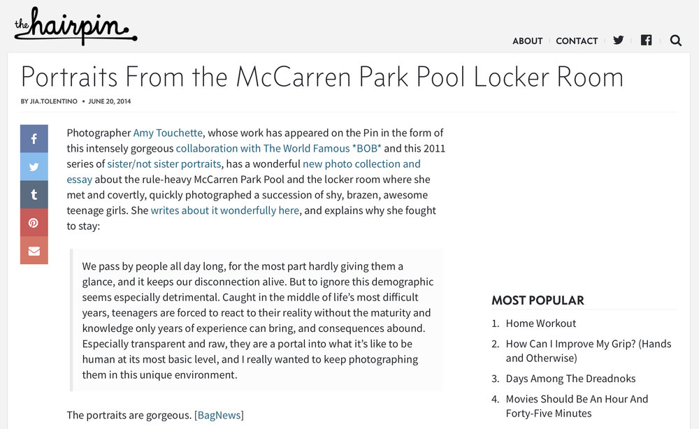 The Hairpin,McCarren Park PoolChanging Room - JUNE 20 2014
