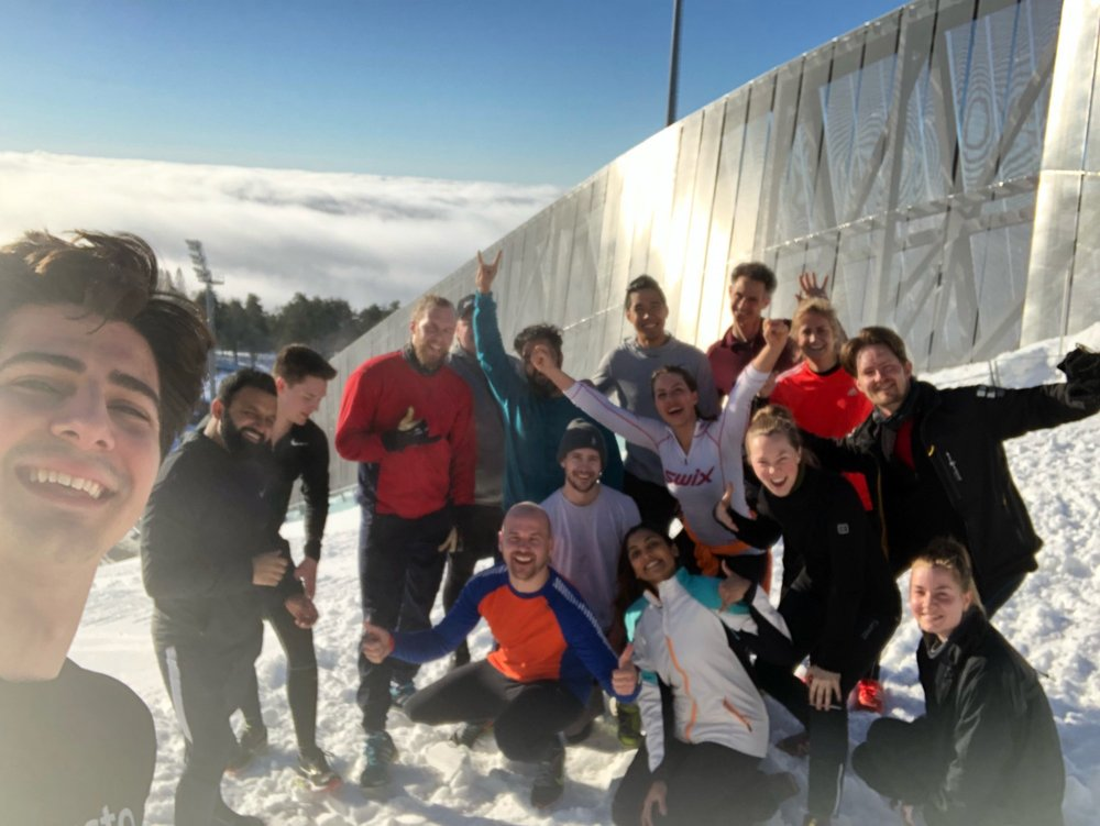 "So happy after our workout session at Holmekollen during ""hell week"". The elevator was out of order — so we ran the stairs ;)"