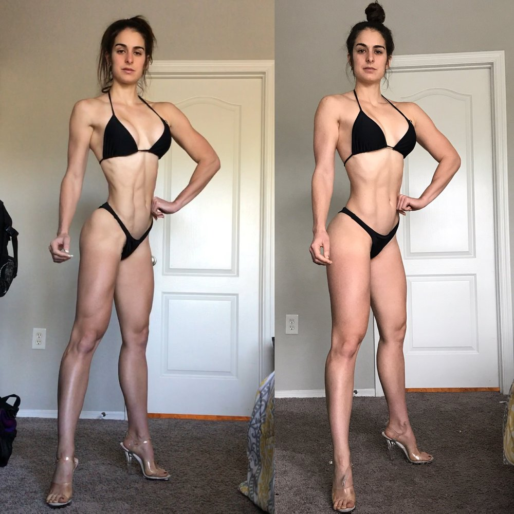 week 1 vs. week 8  2100 cal vs. 3000 cals  124 lbs vs. 132.6 lbs