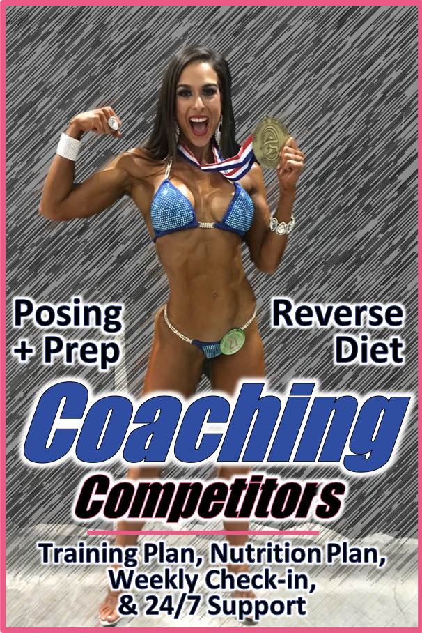Competition Prep - Get Premiere coaching from an IFBB Pro, including posing, prep, offseason, reverse diet, and step by step instructions on everything from posing suits to tanning and backstage warm-ups.Get more info!
