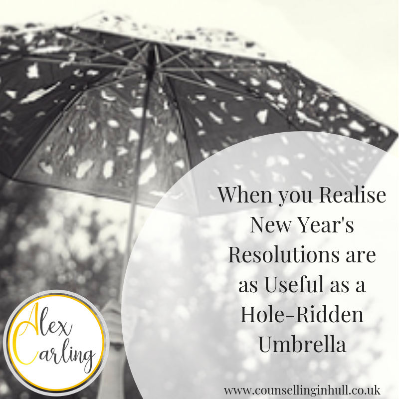 hole ridden umbrella and new years resolutions