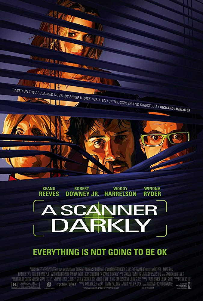 A Scanner Darkly  Dir. Richard Linklater (narrative feature)  Editing, design, re-recording. Final re-record mixing and printmastering completed at Warner Bros. Burbank post facilities, ICON dub stage 6.