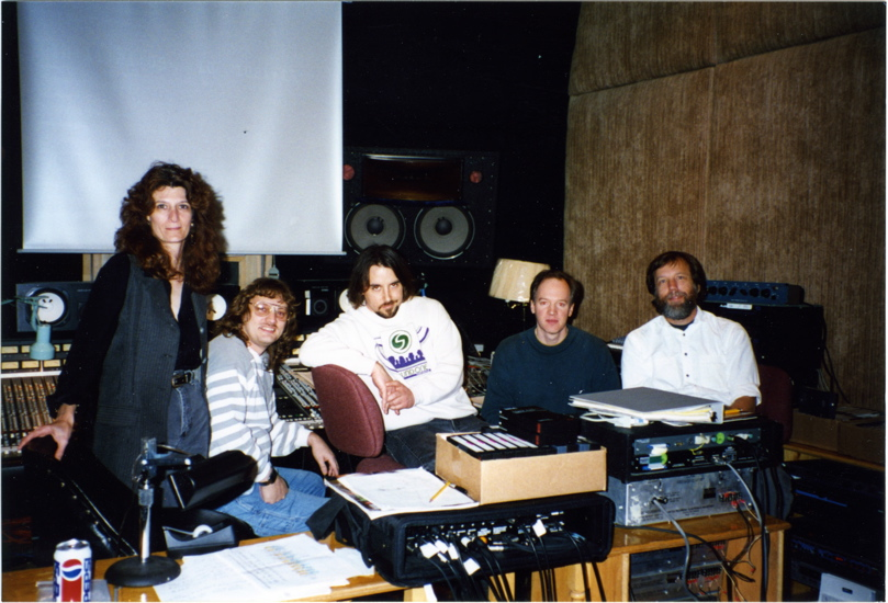 "Sandra Adair, Larry Seyer, Richard Linklater, Tom Hammond and Wayne Bell during the mix of ""Before Sunrise"" at Austin Recording Studio in 1994. A stack of ADAT decks is behind Wayne. A total of seven were linked together for the final mix."