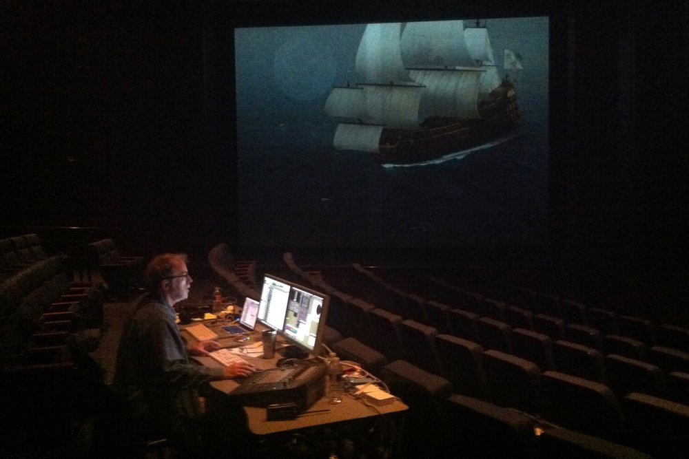 "Wayne working on the mix for ""Shipwrecked"" in the Spirit Theater of the Texas State History Museum."
