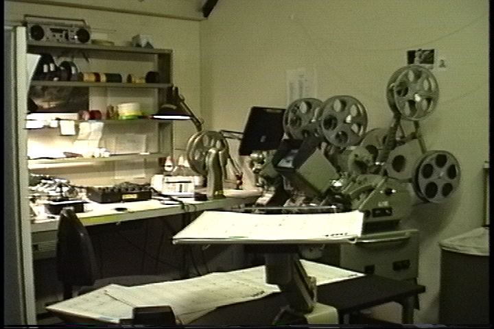 Cutting foley on a moviola at Danetracks in Santa Monica. (1992)
