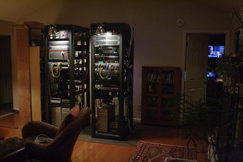 While the new facility was constructed Tom would hold onto the house in Travis Country he planned to sell. The living room became the machine room. Two bedrooms were editing rooms and the master bedroom the mix room. (2015)