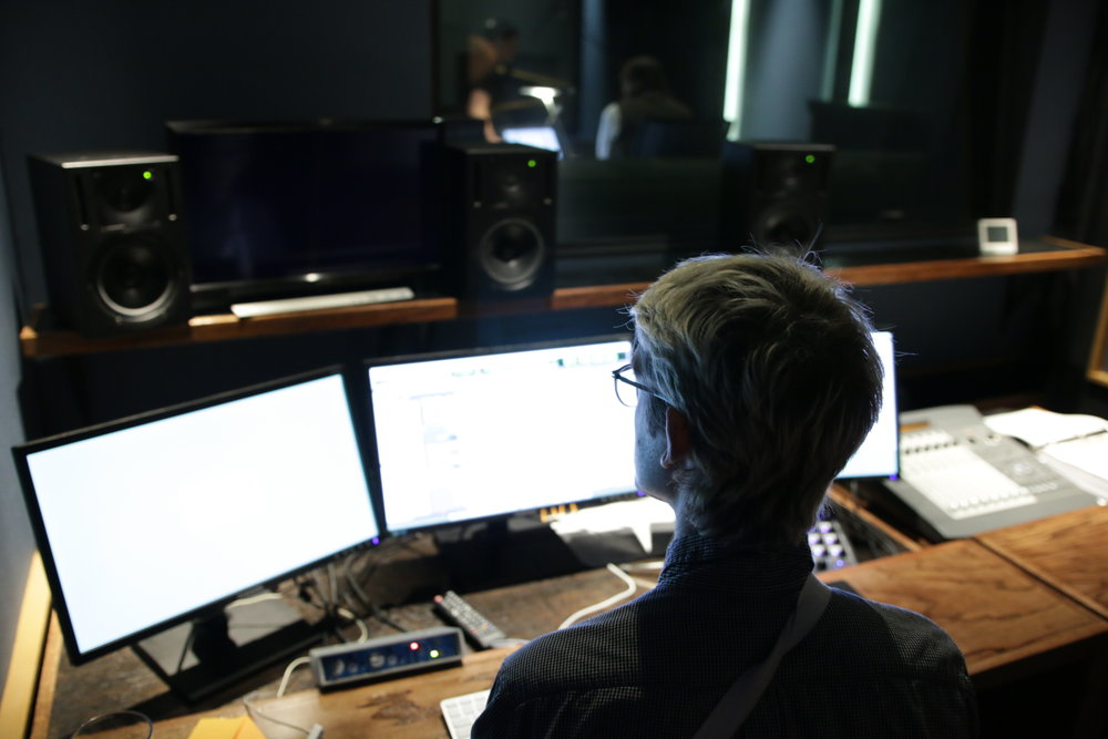 """Miles recording ADR for """"The Iron Orchard."""""""