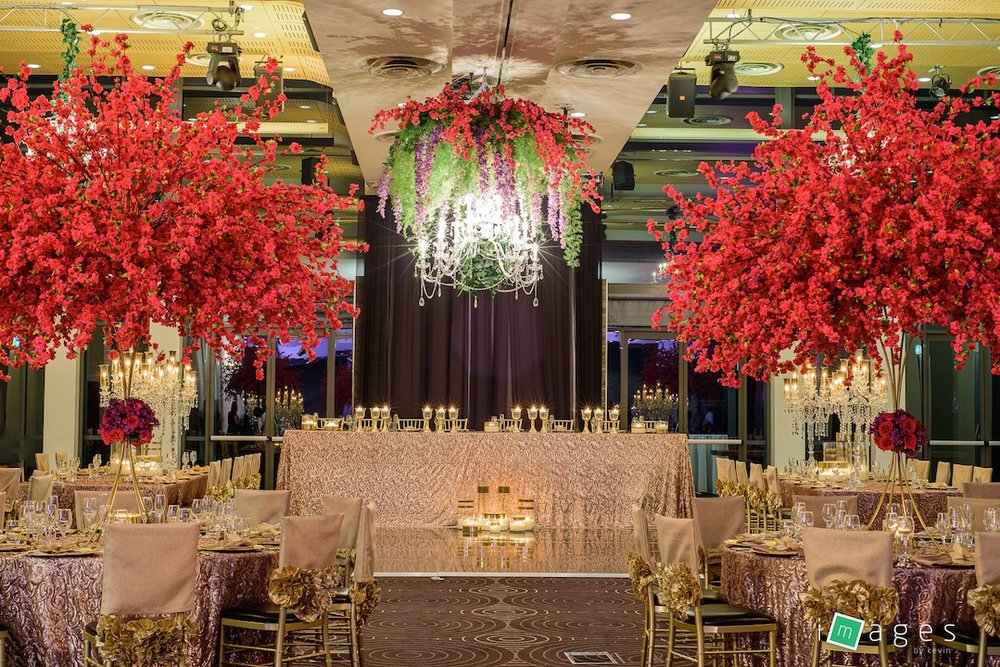 Waterview - Lake Room - PB Champagne Paisley tablecloths, Sofia gold chair caps, crystal chandeliers with silk florals, Gold KT stand with Silk Cherry blossom on top and fresh flowers on collar and lge crystal lampshade for guest table centrepieces 2.jpg
