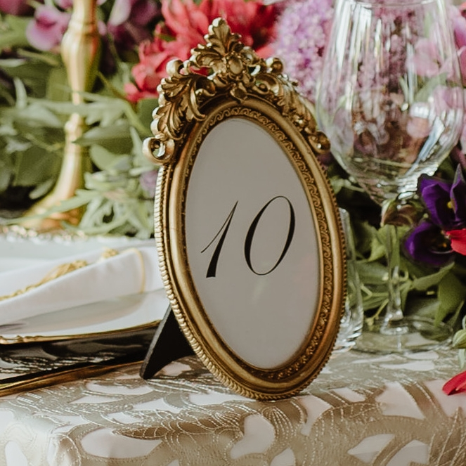 Gold Ornate Oval Table Number