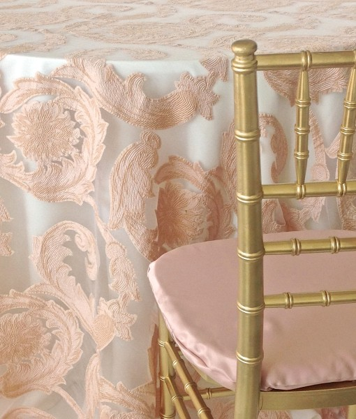 Blush Damask Scroll Luxury Linen