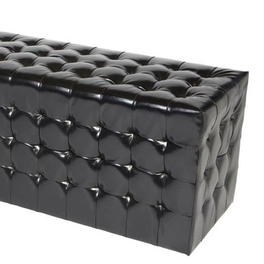 Black Rectangle Chesterfield Ottoman