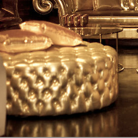 Gold Chesterfield Ottoman
