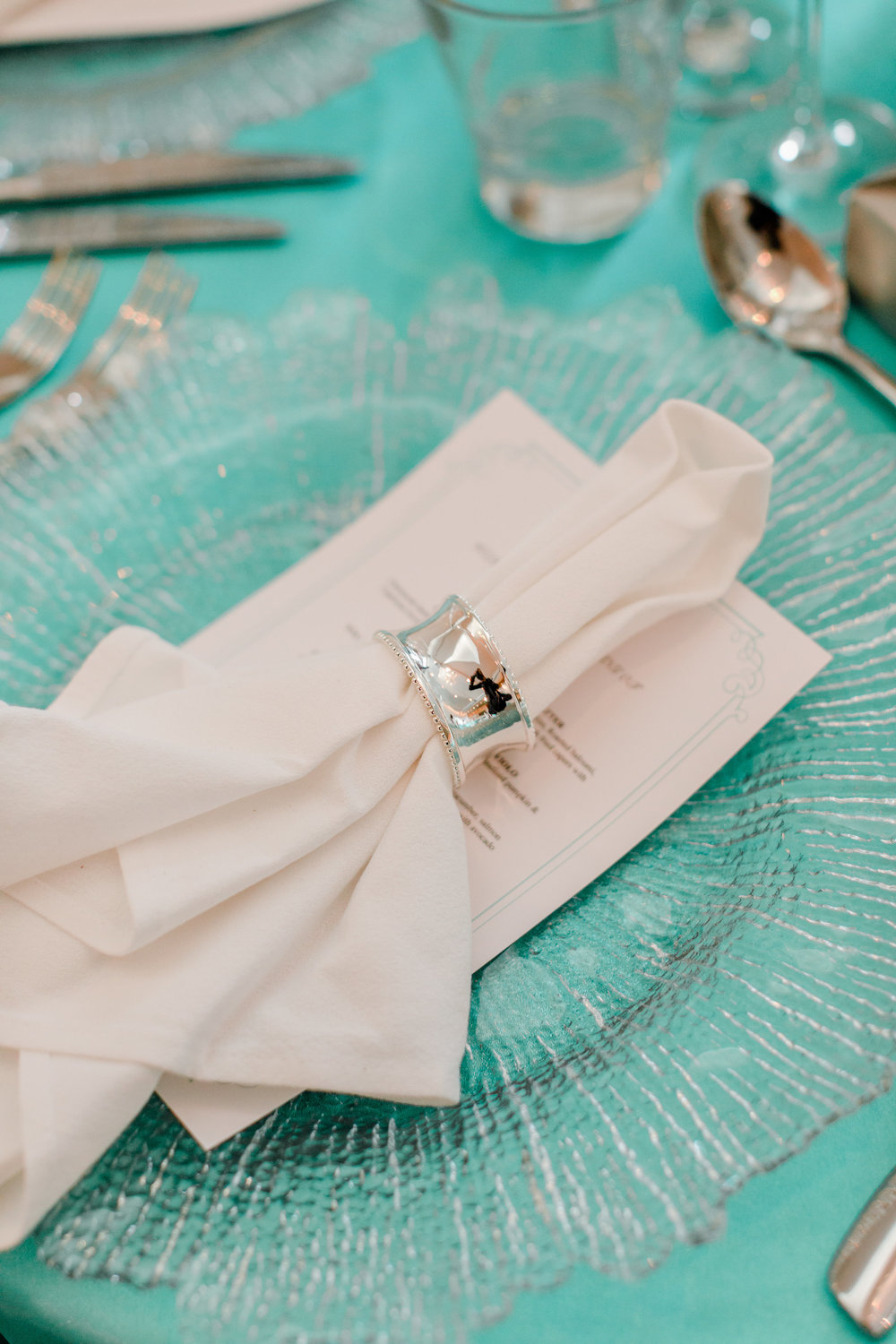 14 Tiffany Blue Satin Linen Tablecloth, Clear Crystal Cut Glass Charger Plate and Silver Napkin Ring.jpg