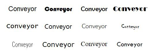Various font options of the word 'Conveyor' in FactoryTalk View Studio.