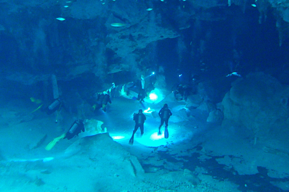 Cave divers underneath Cenote Dos Ojos