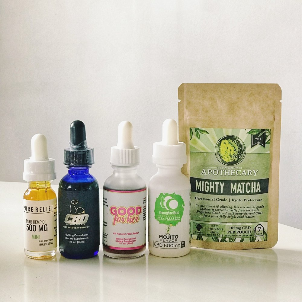 Pure Relief 500mg ,  CBD Extreme Athlete 600mg ,  Good For Her 600mg ,  Thoughtcloud Vape E-Liquid ,  The Brothers Apothecary CBD Tea .