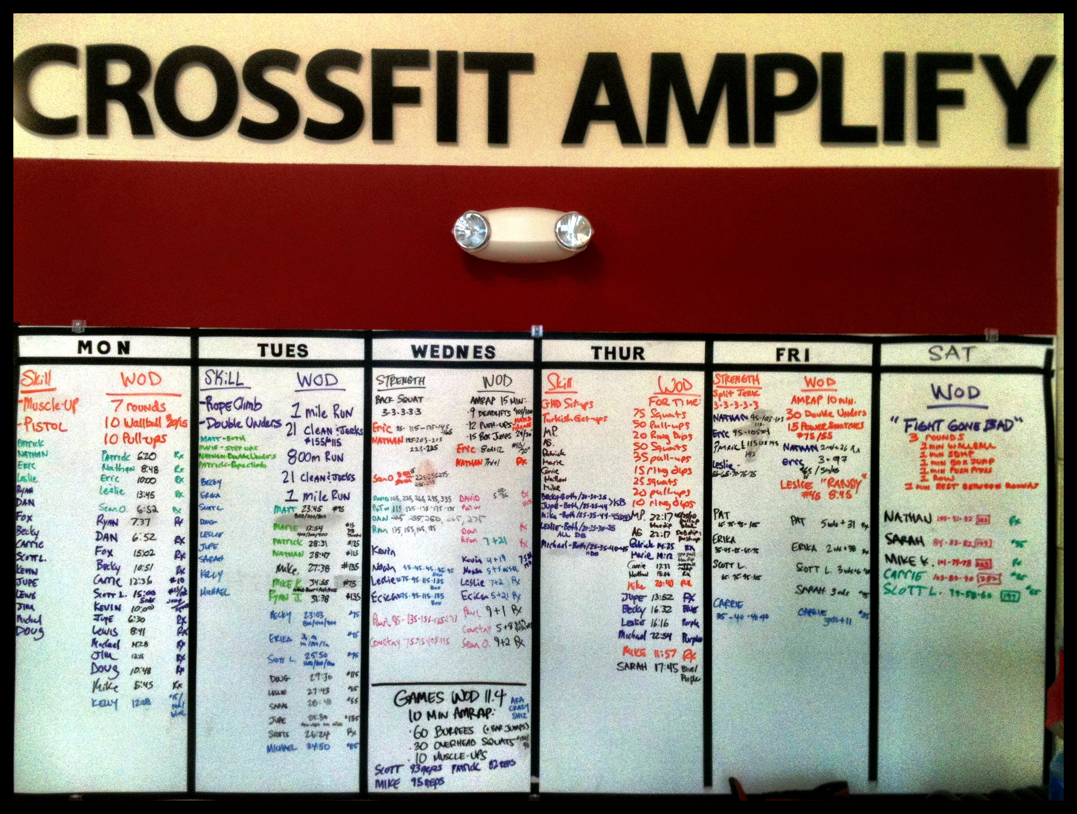 CrossFit Amplify Workout Board