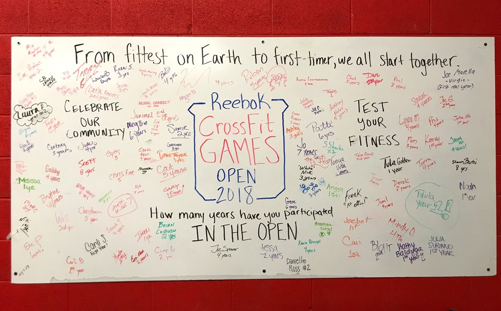 2018 CrossFit Open Sign-up Board