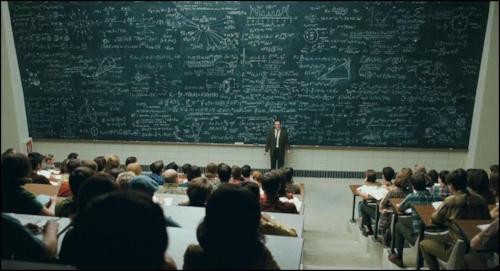 chalk board huge equation