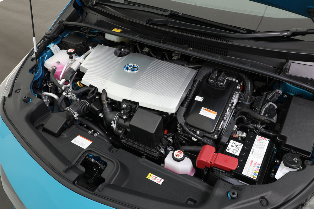 2018 Toyota Prius Prime, Leather option package, engine bay.JPG