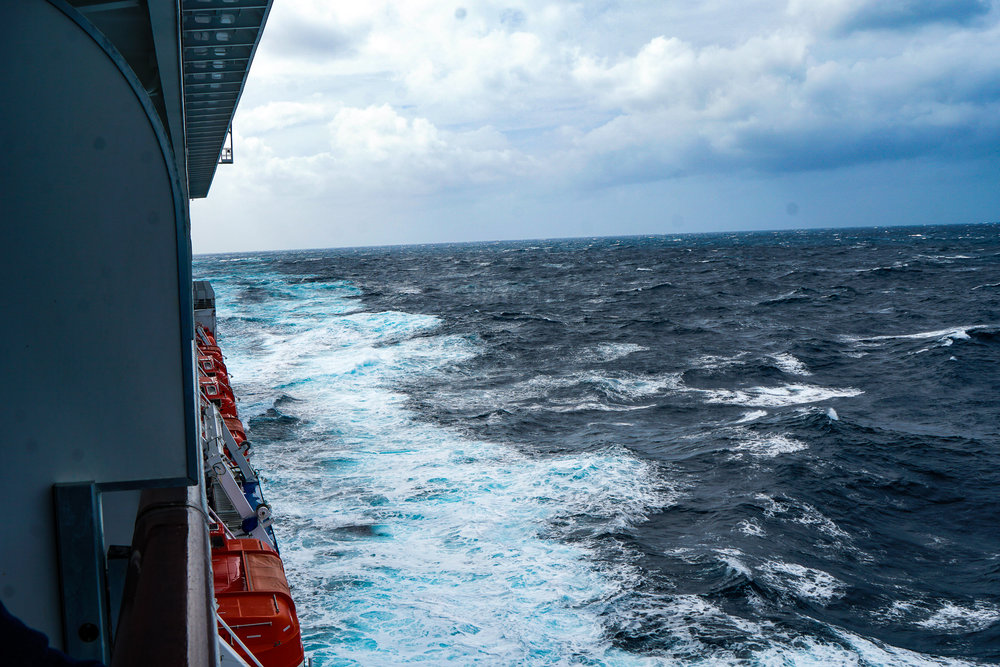 Eight to ten foot seas are hard to photograph due to perspective. Believe me, we were rolling.