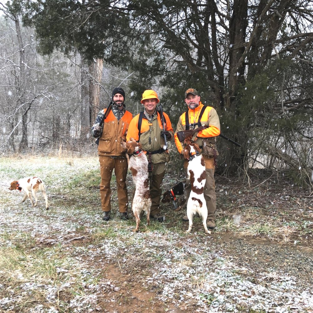Justin, Chip, and Robb at the start of the hike to the second covert - dogs (from left to right: Otto, Kona, Nova, Lincoln) dialed-in for all the woodcock scent they can get their noses pressed into …
