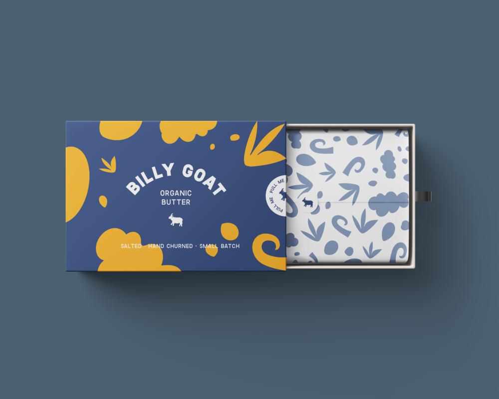 BILLY GOAT BUTTER  Packaging design for a new organic goats butter.