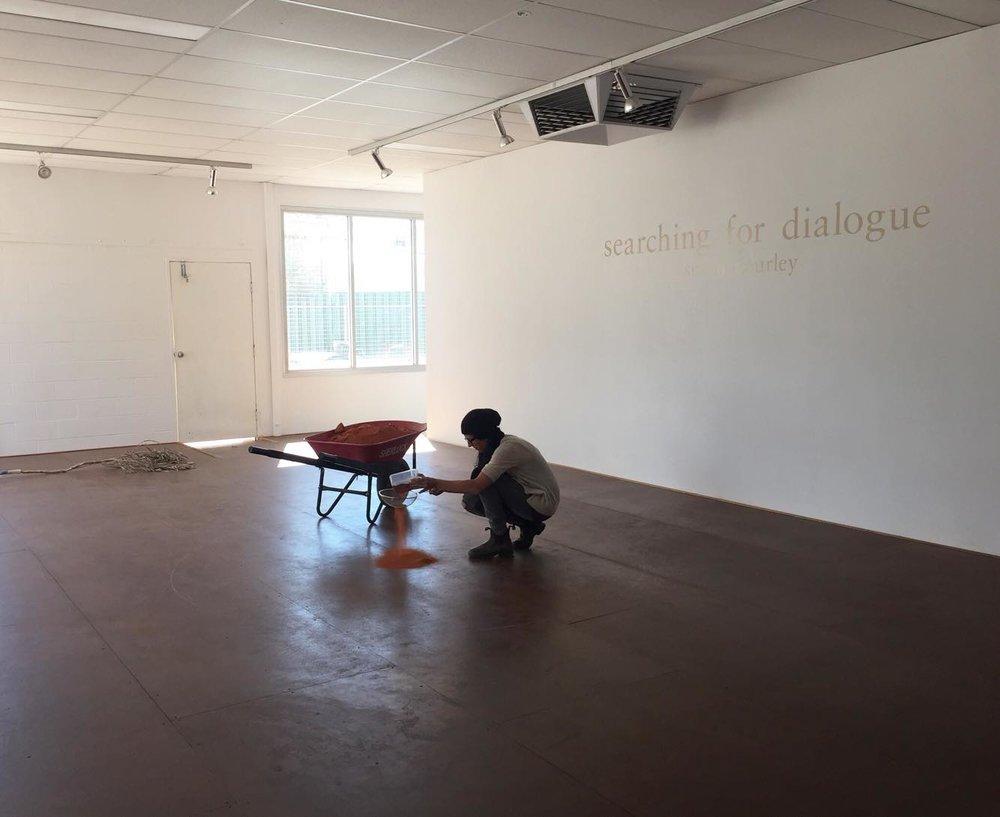 Installing work from her residency