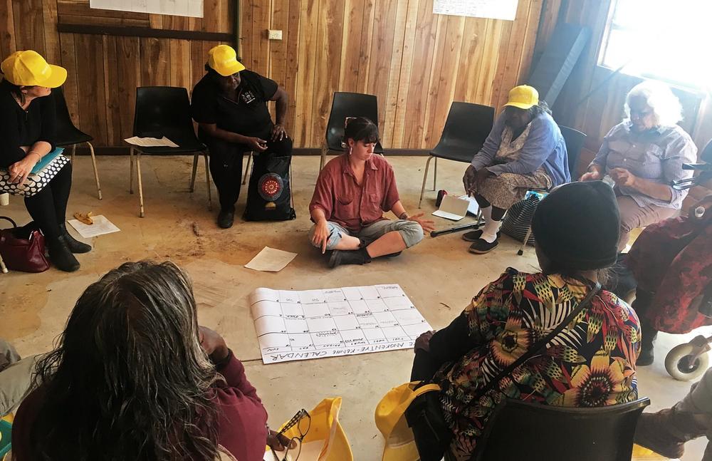 The making of  Apmere angkentye-kenhe (A Place for Language) , meeting inside the shed 2017.  Amelia Turner, Beth Sometimes, MK Turner, Veronica Dobson, Ali Furber