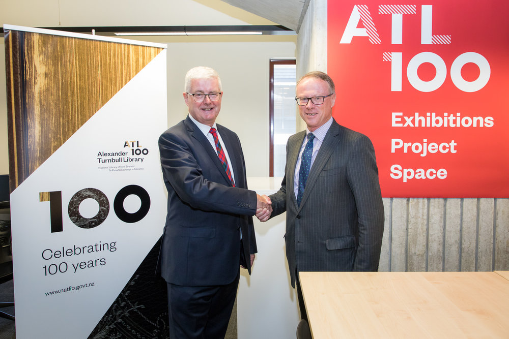Image: Bill Macnaught, Chair Te Puna Foundation (left) and John Meads, Chair ATL Endowment Trust (right)